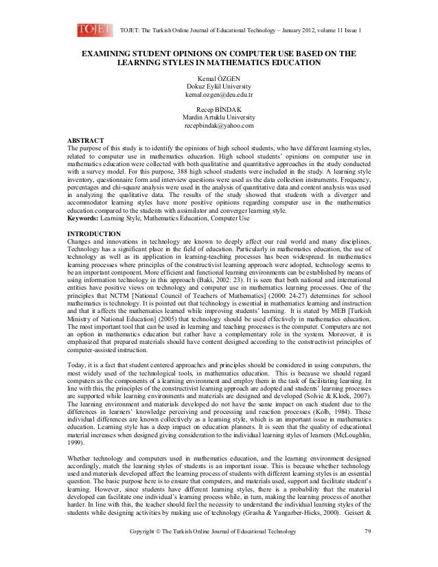 TOJET: The Turkish Online Journal of Educational Technology – January 2012, volume 11 Issue 1    EXAMINING STUDENT OPINIO...
