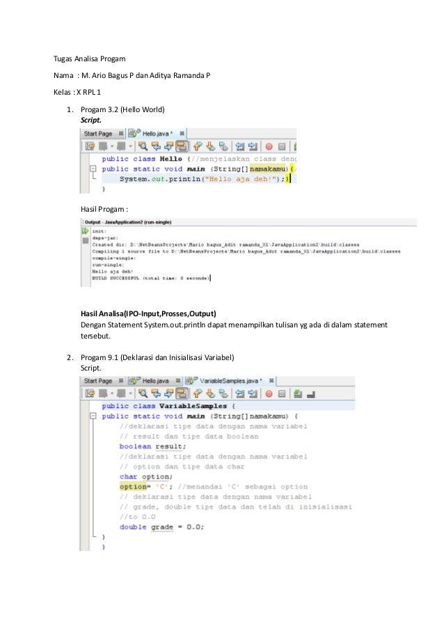 Tugas Analisa ProgamNama : M. Ario Bagus P dan Aditya Ramanda PKelas : X RPL 1    1. Progam 3.2 (Hello World)       Script...