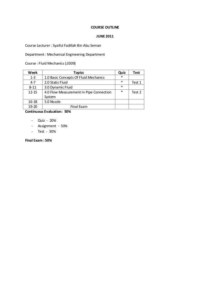 COURSE OUTLINE<br />JUNE 2011<br />Course Lecturer : Syaiful Fadillah Bin Abu Seman<br />Department : Mechanical Engineeri...