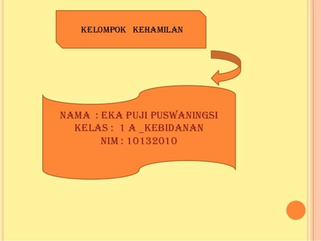 KEL0MPOK KEHAMILAN  Nama : Eka Puji Puswaningsi Kelas : 1 A _kebidanan NIM : 10132010