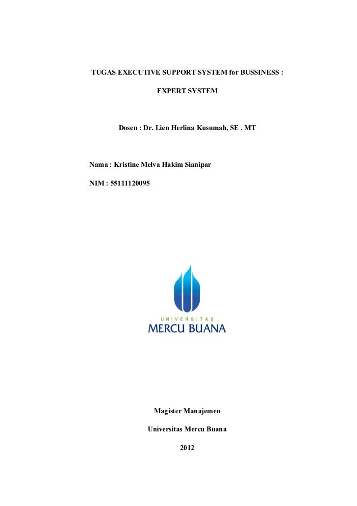 TUGAS EXECUTIVE SUPPORT SYSTEM for BUSSINESS :                    EXPERT SYSTEM        Dosen : Dr. Lien Herlina Kusumah, S...