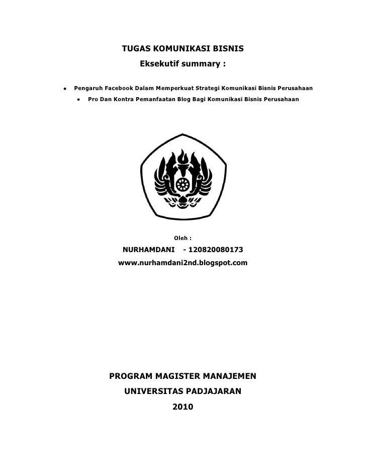 Tugas Uas Komunikasi bisnis NURHAMDANI