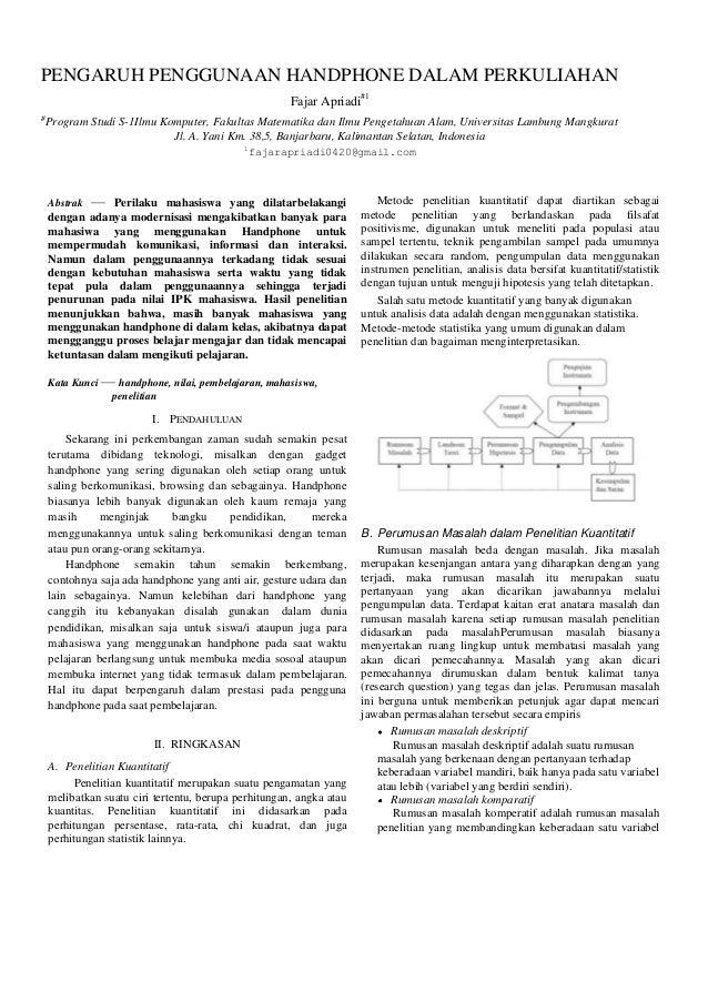 PENGARUH PENGGUNAAN HANDPHONE DALAM PERKULIAHAN Fajar Apriadi#1 #  Program Studi S-1Ilmu Komputer, Fakultas Matematika dan...