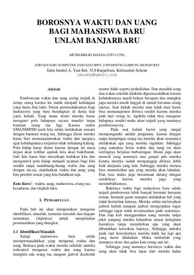 """""""Ringkasan Penelitian Borosnya Waktu dan Uang Bagi Mahasiswa UNLAM Banjarbaru"""""""