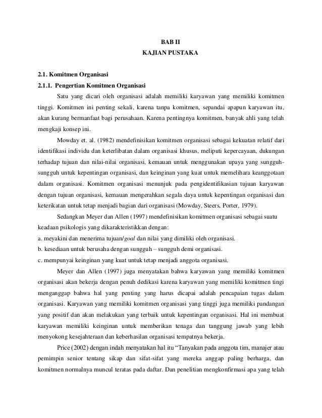 analisis pengaruh komitmen organisasi dan keterlibatan Ii tesis analisis pengaruh keterlibatan kerja dan peran kepemimpinan terhadap komitmen organisasi untuk meningkatkan kinerja pegawai ( studi pada badan pelayanan.