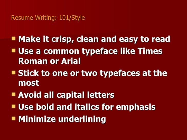 resume writing 101 hpl
