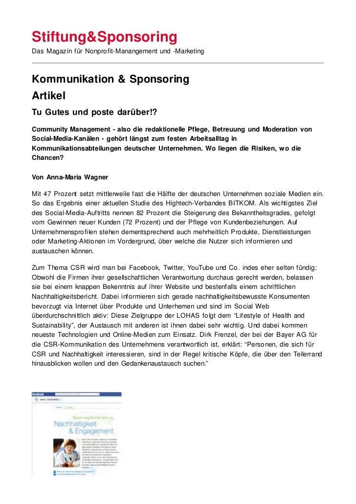 Stiftung&SponsoringDas Magazin für Nonprofit-Manangement und -MarketingKommunikation & SponsoringArtikelTu Gutes und poste...