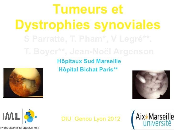 Tumeurs etDystrophies synoviales S Parratte, T. Pham*, V Legré**. T. Boyer**, Jean-Noël Argenson         Hôpitaux Sud Mars...