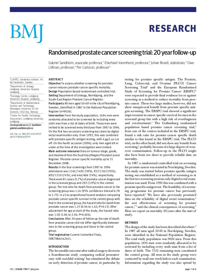 RESEARCH                                       Randomised prostate cancer screening trial: 20 year follow-up              ...