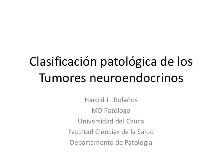 Clasificación patológica de los  Tumores neuroendocrinos            Harold J . Bolaños              MD Patólogo          U...