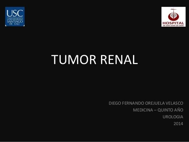 TUMOR RENAL  DIEGO FERNANDO OREJUELA VELASCO  MEDICINA – QUINTO AÑO  UROLOGIA  2014