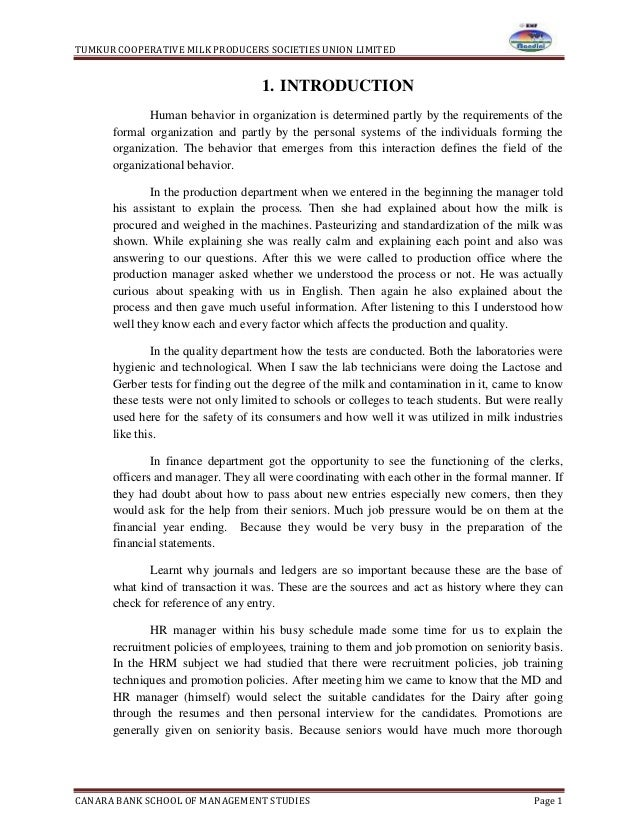 TUMKUR COOPERATIVE MILK PRODUCERS SOCIETIES UNION LIMITEDCANARA BANK SCHOOL OF MANAGEMENT STUDIES Page 11. INTRODUCTIONHum...
