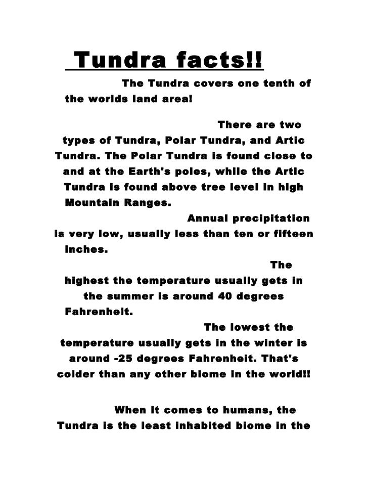 Tundra biome report 6th grade science