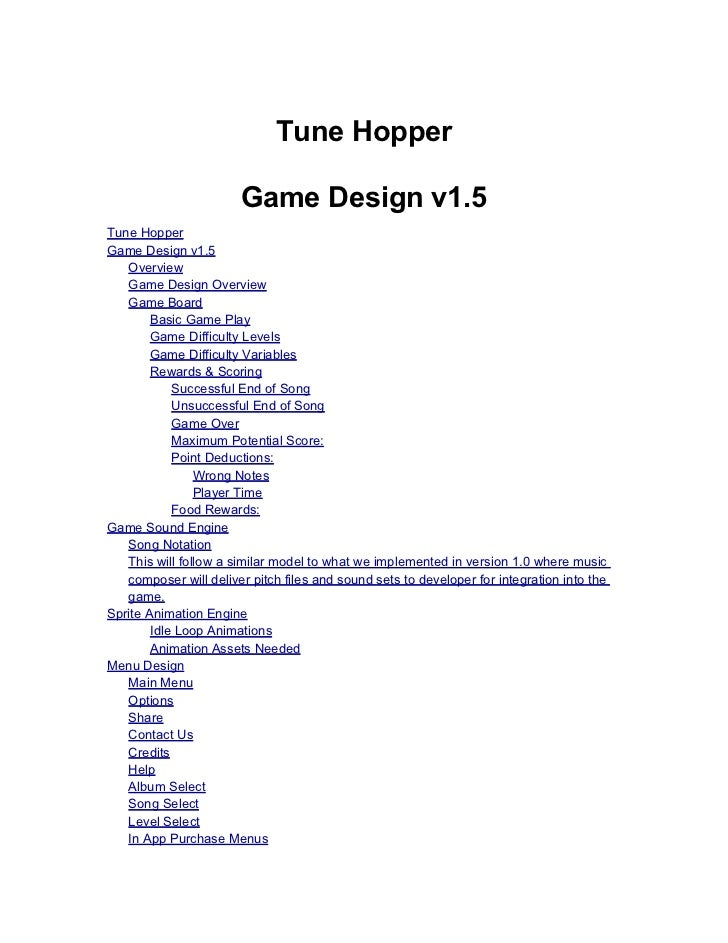 Tune Hopper Design Document 1.5