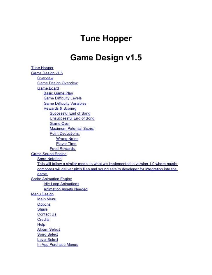 Tune Hopper Design Document 1.5
