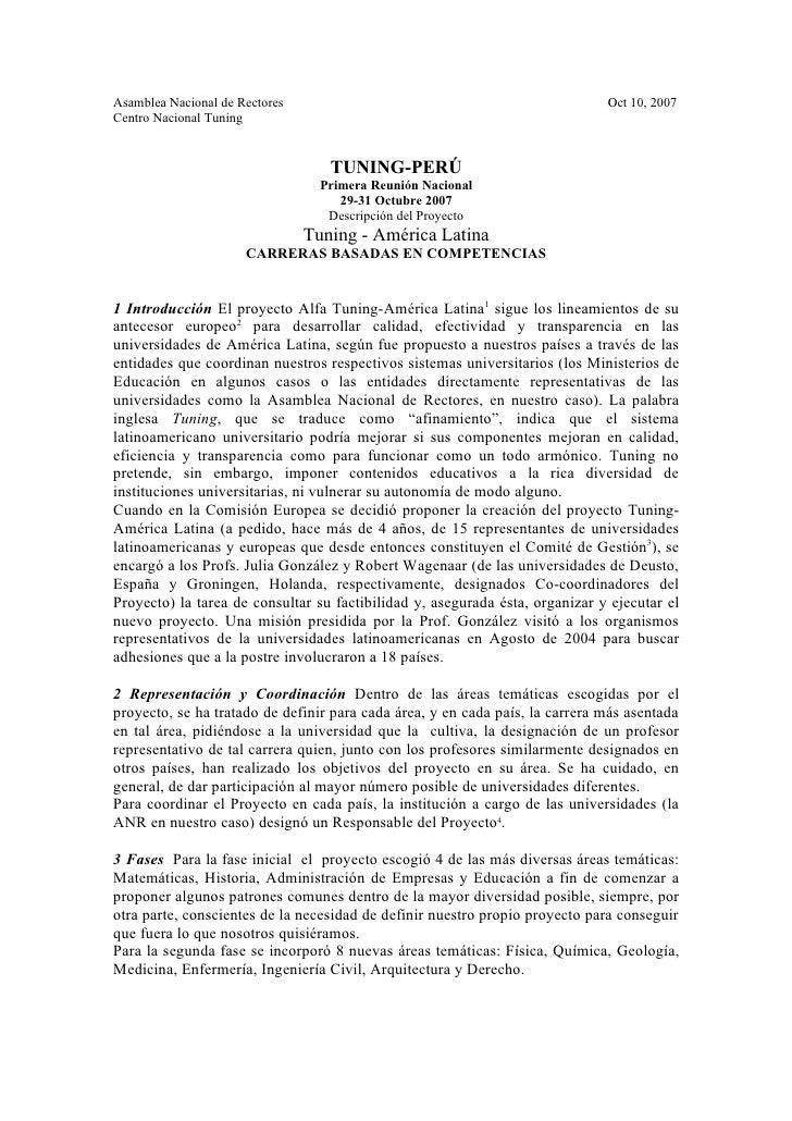 Asamblea Nacional de Rectores                                                 Oct 10, 2007Centro Nacional Tuning          ...