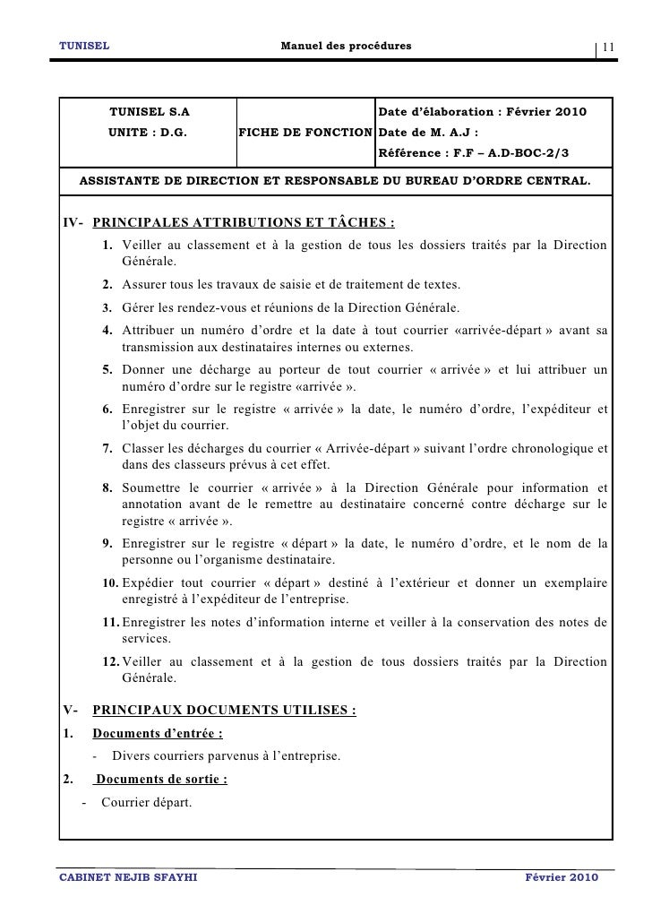 modele fiche de poste secretaire commerciale document