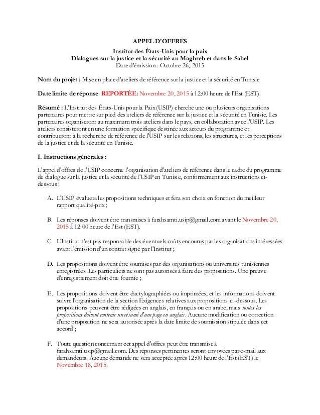 APPEL D'OFFRES Institut des États-Unis pour la paix Dialogues sur la justice et la sécurité au Maghreb et dans le Sahel Da...