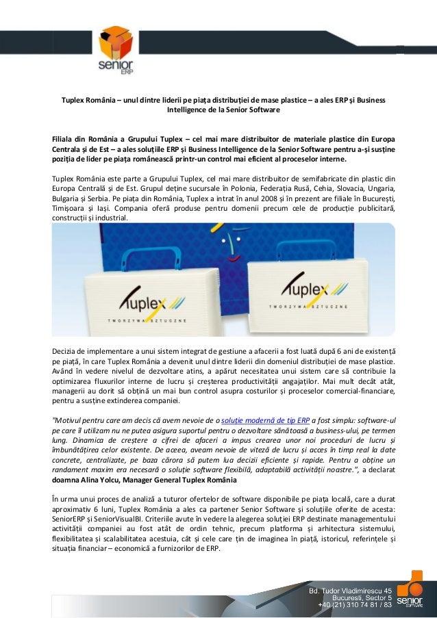 Tuplex Romania – unul dintre liderii pe piata distributiei de mase plastice – a ales ERP si Business Intelligence de la Senior Software