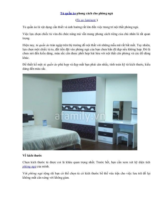 Tủ quần áo phong cách cho phòng ngủ (Tu ao laminate ) Tủ quần áo là vật dụng cần thiết và ảnh hưởng rất lớn đến việc trang...