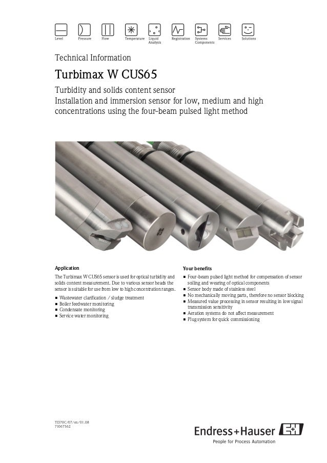 TI370C/07/en/01.0871067562Technical InformationTurbimax W CUS65Turbidity and solids content sensorInstallation and immersi...