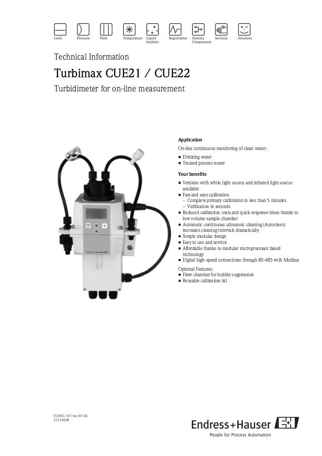 TI395C/07/en/07.0651518608Technical InformationTurbimax CUE21 / CUE22Turbidimeter for on-line measurementApplicationOn-lin...