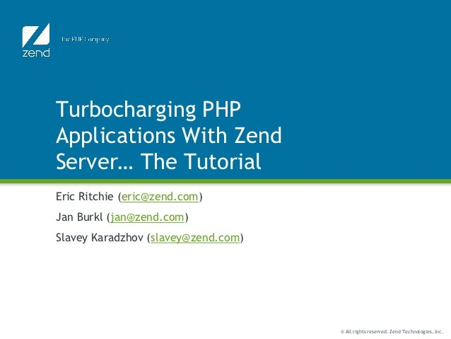Turbocharging php applications with zend server (workshop)