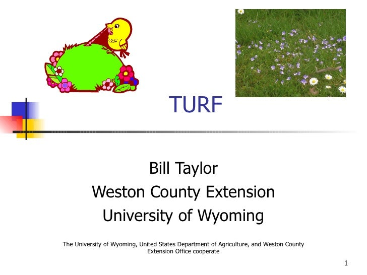 TURF Bill Taylor Weston County Extension University of Wyoming The University of Wyoming, United States Department of Agri...