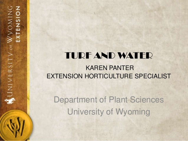 TURF AND WATER KAREN PANTER EXTENSION HORTICULTURE SPECIALIST Department of Plant Sciences University of Wyoming