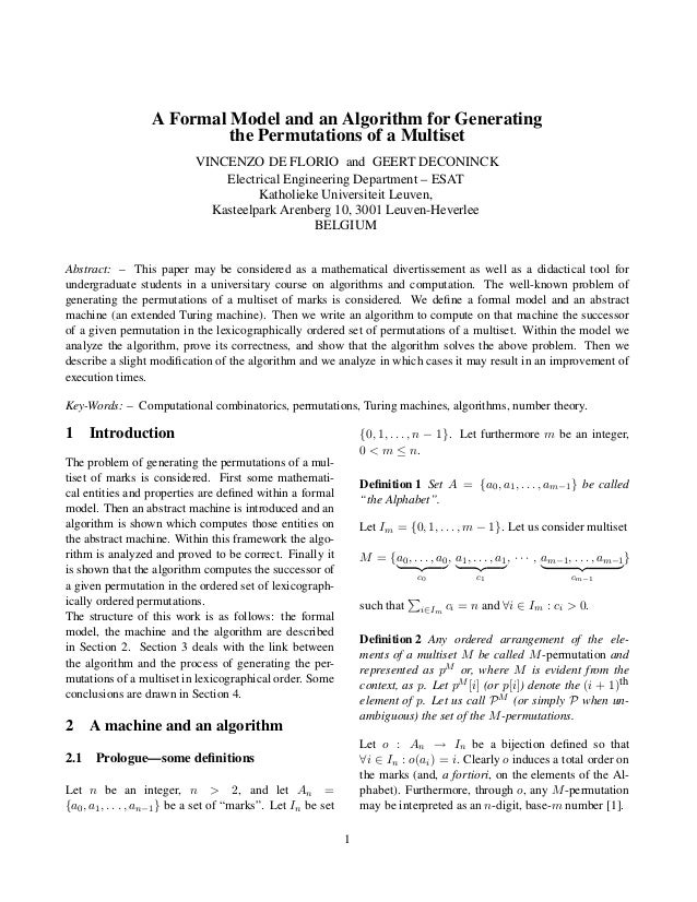 A Formal Model and an Algorithm for Generating the Permutations of a Multiset VINCENZO DE FLORIO and GEERT DECONINCK Elect...