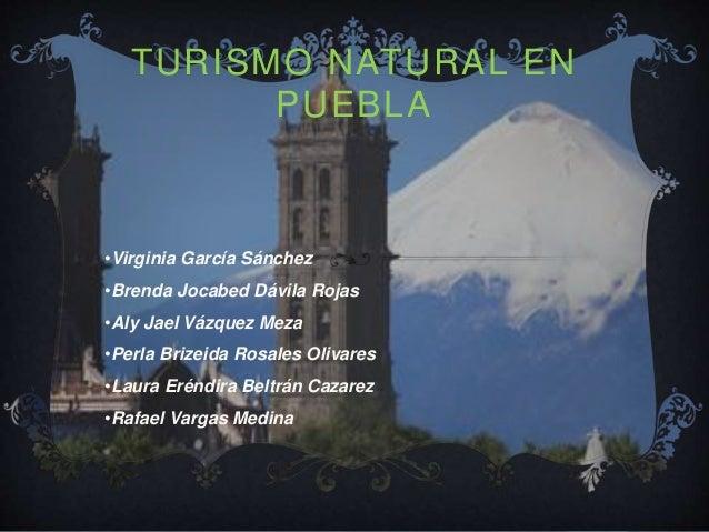 TURISMO NATURAL EN PUEBLA •Virginia García Sánchez •Brenda Jocabed Dávila Rojas •Aly Jael Vázquez Meza •Perla Brizeida Ros...