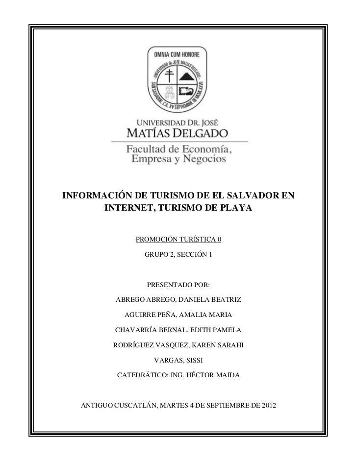INFORMACIÓN DE TURISMO DE EL SALVADOR EN       INTERNET, TURISMO DE PLAYA                PROMOCIÓN TURÍSTICA 0            ...