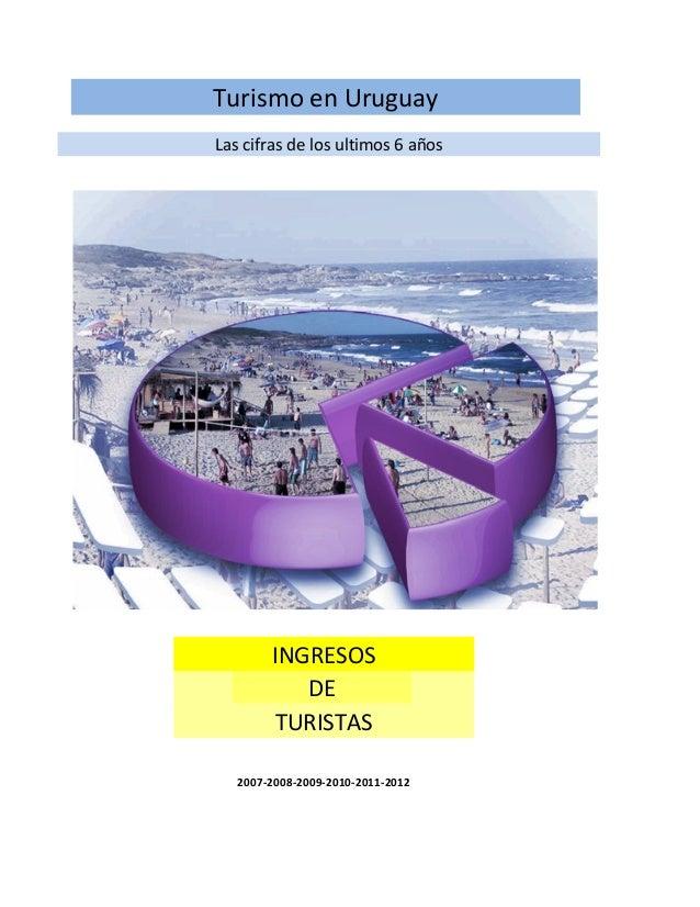 Turismo en Uruguay Las cifras de los ultimos 6 años INGRESOS DE TURISTAS 2007-2008-2009-2010-2011-2012