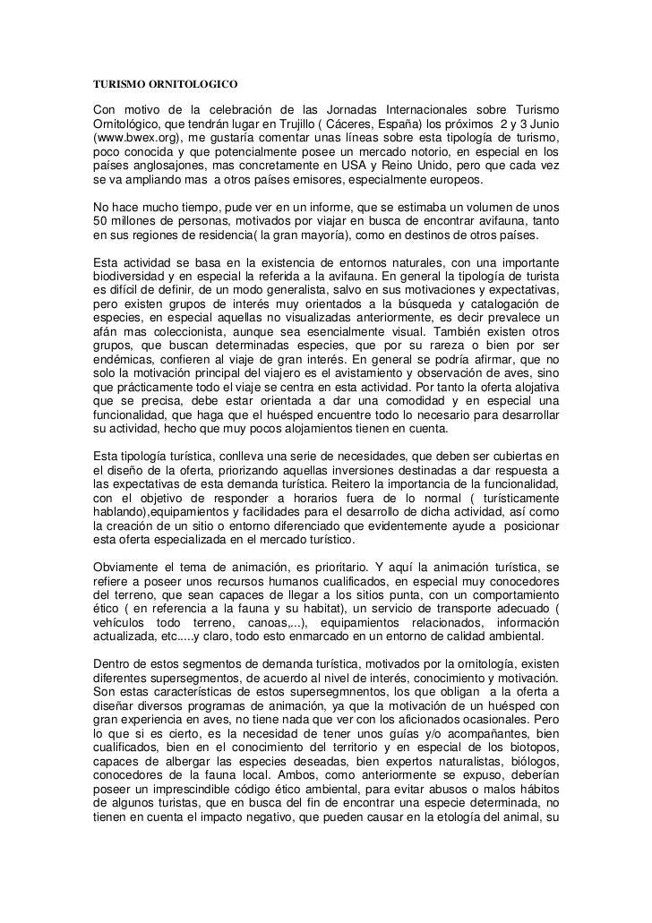 TURISMO ORNITOLOGICO  Con motivo de la celebración de las Jornadas Internacionales sobre Turismo Ornitológico, que tendrán...