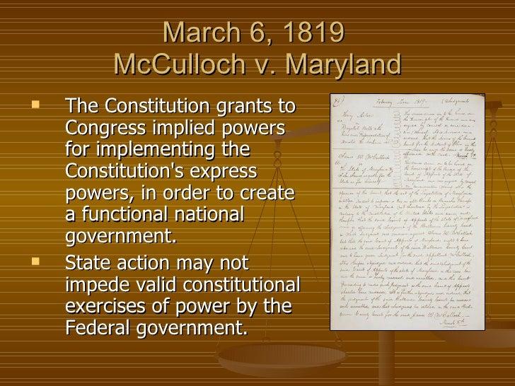 mc culloch v maryland 1819 essay