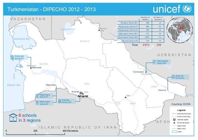 DIPECHO 2012 - 2013 country level school map - Turkmenistan