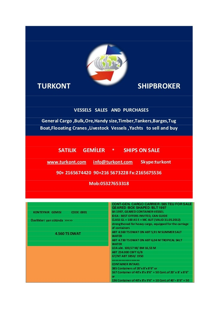 TURKONT                                                        SHIPBROKER                                VESSELS SALES AND...