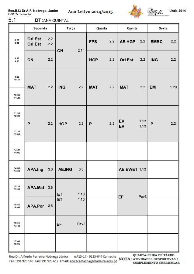 Esc.B23 Dr.A.F. Nobrega, Junior P-9135 Camacha Untis 2014 5.1 DT:ANA QUINTAL Segunda Terça Quarta Quinta Sexta 8:00 8:45 8...