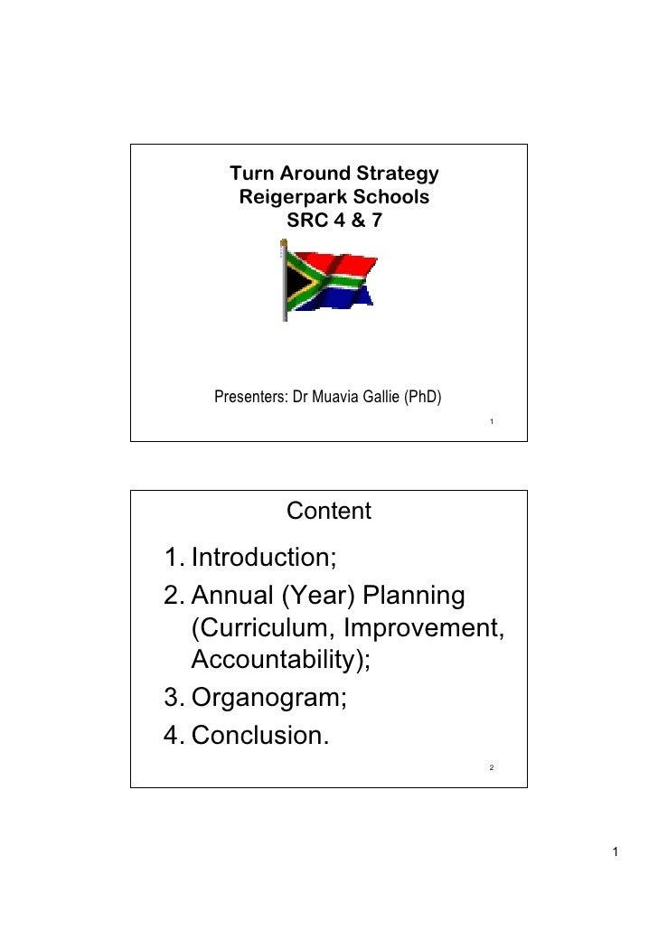 Turn Around Strategy       Reigerpark Schools           SRC 4 & 7    Presenters: Dr Muavia Gallie (PhD)                   ...