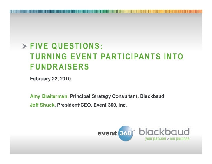 FIVE QUESTIONS:        TURNING EVENT PARTICIPANTS INTO        FUNDRAISERS        February 22, 2010        Amy Braiterman, ...