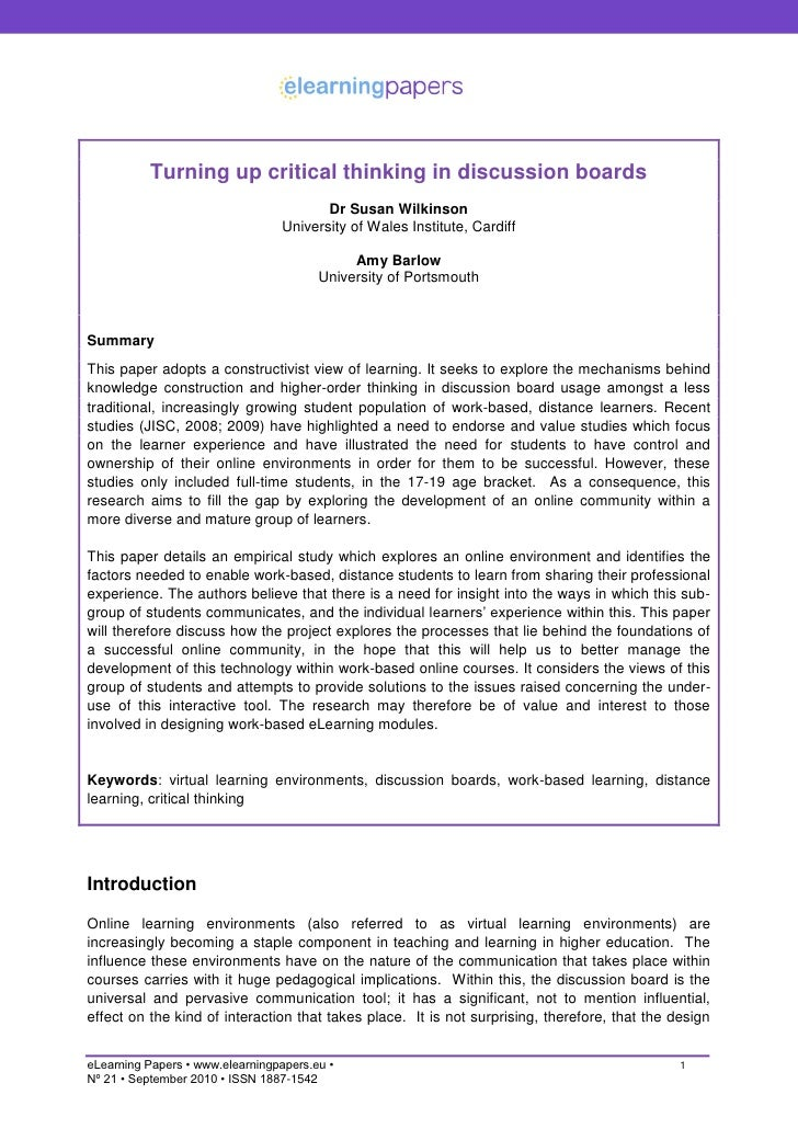 Turning up critical thinking in discussion boards                                          Dr Susan Wilkinson             ...