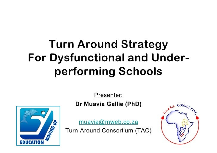 Turn Around StrategyFor Dysfunctional and Under-     performing Schools              Presenter:         Dr Muavia Gallie (...