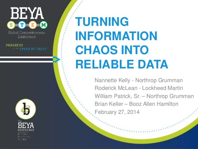 TURNING INFORMATION CHAOS INTO RELIABLE DATA Nannette Kelly - Northrop Grumman Roderick McLean - Lockheed Martin William P...