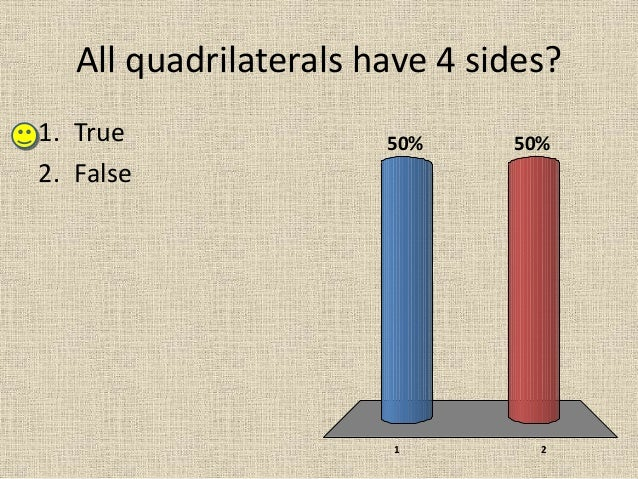 All quadrilaterals have 4 sides? 1 2 50%50%1. True 2. False