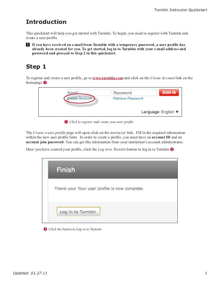 Turnitin Instructor Quickstart      Introduction      This quickstart will help you get started with Turnitin. To begin, y...