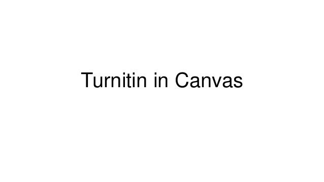 Turnitin in Canvas