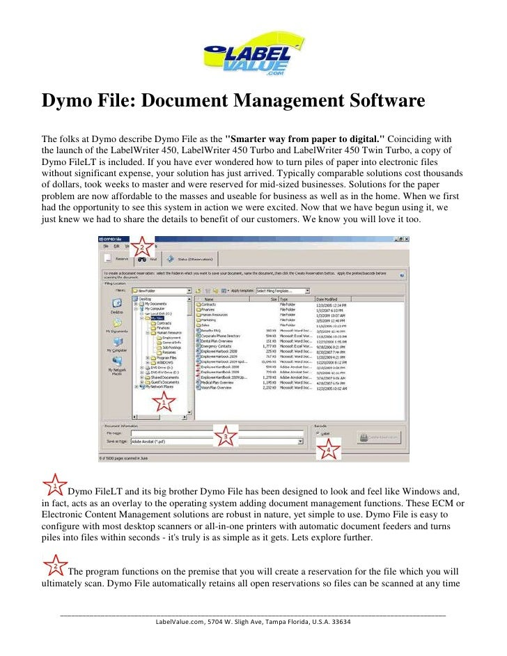 "Dymo File: Document Management Software<br />The folks at Dymo describe Dymo File as the "" Smarter way from paper to digit..."