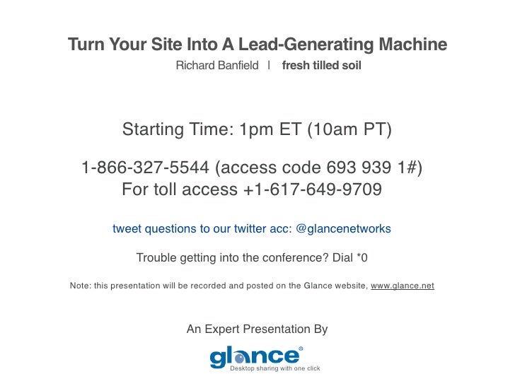 Turn Your Site Into A Lead-Generating Machine                          Richard Banfield | fresh tilled soil               ...