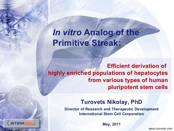 Turovets Nikolay, PhD Director of Research and Therapeutic Development International Stem Cell Corporation May, 2011 Effic...