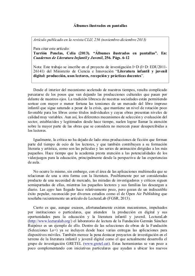 Álbumes ilustrados en pantallas - Celia Turrión Penelas (CLIJ, 256)